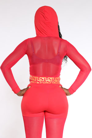 Women's Mesh Hooded Top - Red