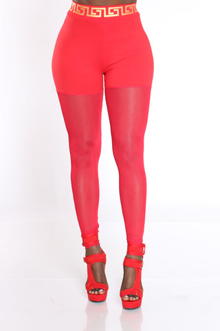 Women's Mesh Legging - Red