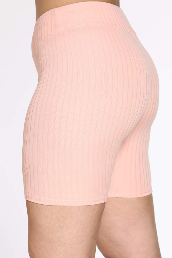 Women's Angela Ribbed Biker Short - Mauve