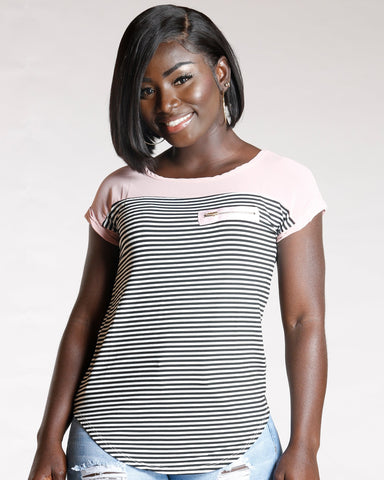 Women's Heidie Stripe Zip Pocket Top - Blush-VIM.COM