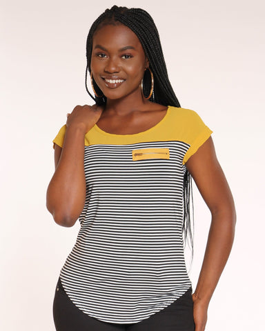 Women's Heidie Stripe Zip Pocket Top - Mustard-VIM.COM