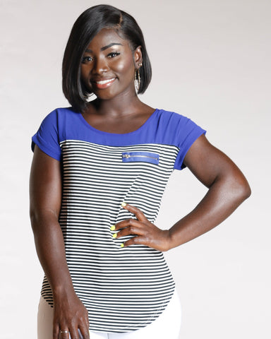 Women's Heidie Stripe Zip Pocket Top - Royal-VIM.COM
