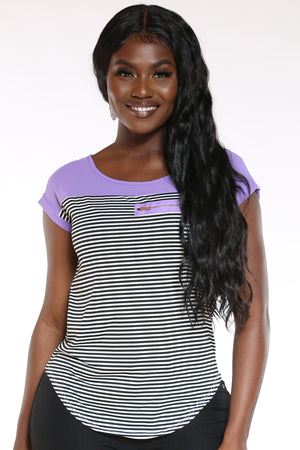 Women's Heidie Stripe Zip Pocket Top - Purple-VIM.COM