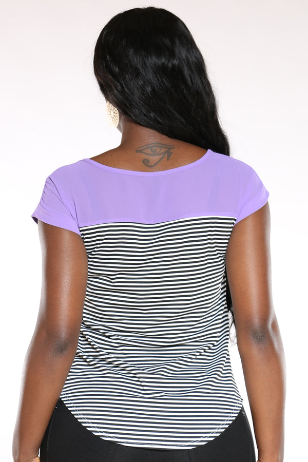 Women's Heidie Stripe Zip Pocket Top - Purple