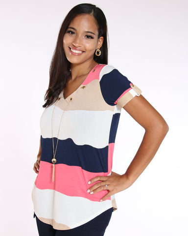 Women's Roma Striped Chain Top - Coral-VIM.COM
