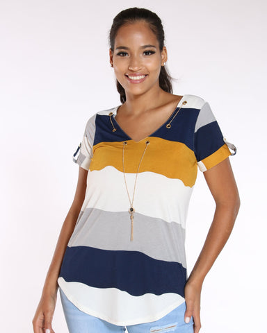 Women's Roma Striped Chain Top - Mustard-VIM.COM
