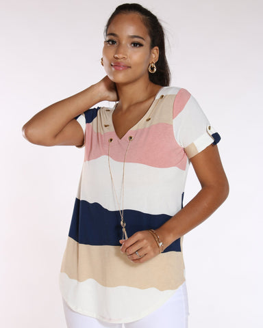 Women's Roma Striped Chain Top - Mauve-VIM.COM