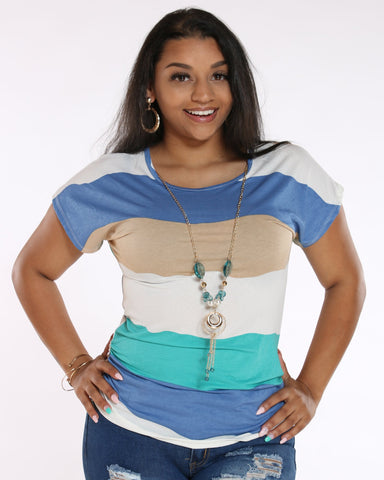 VIM VIXEN Drema Striped With Chain Top - Jade - ShopVimVixen.com