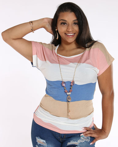 VIM VIXEN Drema Striped With Chain Top - Mauve - ShopVimVixen.com