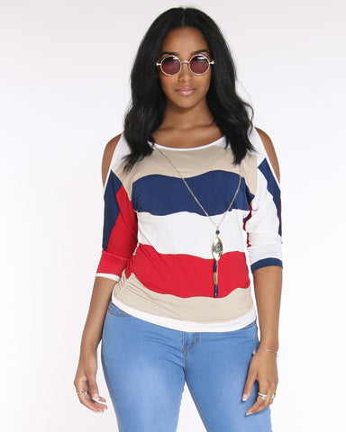 VIM VIXEN Day To Evening Striped Top With Chain - Red - ShopVimVixen.com