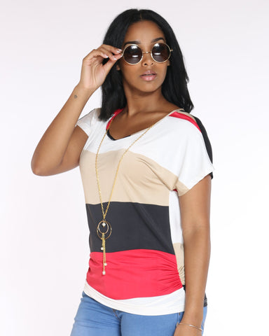 VIM VIXEN Day To Day Striped Top With Chain - Red - ShopVimVixen.com