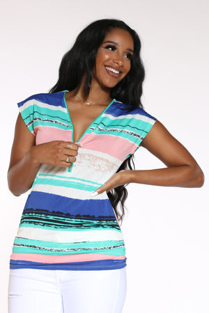 Women's Striped Front Zip Top - Royal