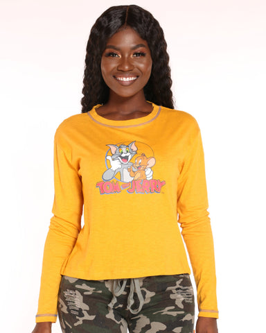 VIM VIXEN Tom & Jerry Printed Top - Mustard - ShopVimVixen.com