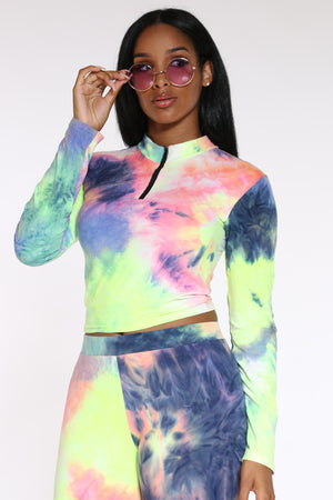 Women's Tie Dye Hooded Yummy Tee - Rainbow-VIM.COM