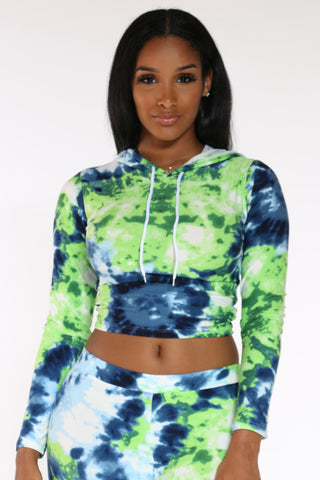 Women's Tie Dye Hooded Yummy Tee - Green Blue-VIM.COM
