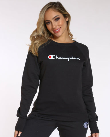 Women's Champion Power Blend Boyfriend Graphic Crew Top - Black