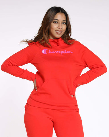 CHAMPION-Women's Champion Power blend Po Hoodie - Red Flame-VIM.COM