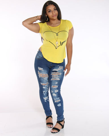 VIM VIXEN Love Print With Keychain - Yellow - ShopVimVixen.com