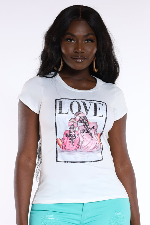 Love My Minnie Me Tee - Cream-VIM.COM
