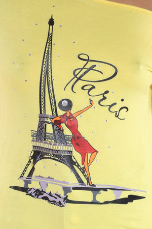 Paris Rhinestone Tee - Yellow