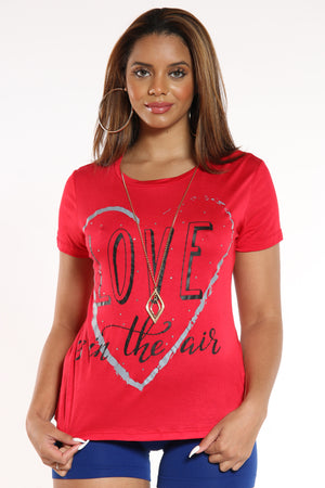 Women's Love Is In The Air Tee - Red-VIM.COM