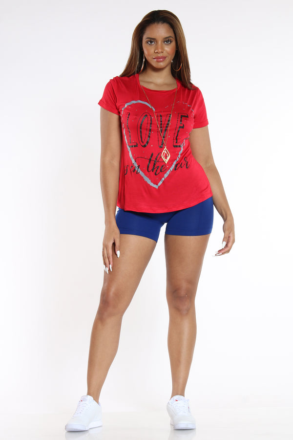 Women's Love Is In The Air Tee - Red