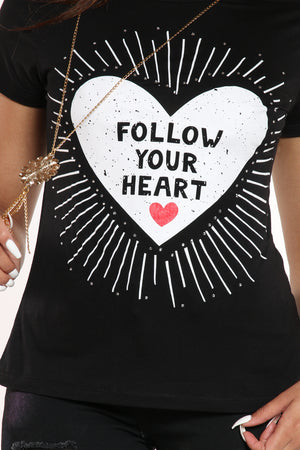 Follow Your Heart Tee - Black