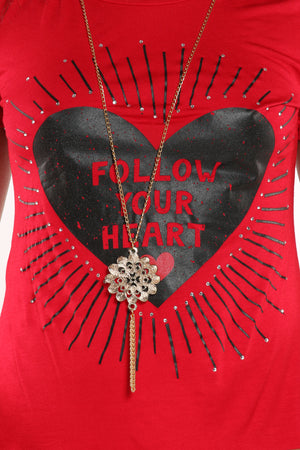 Women's Follow Your Heart Tee - Red