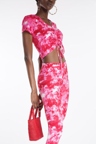 Rock With Me Rouched Crop Top - Pink Red-VIM.COM