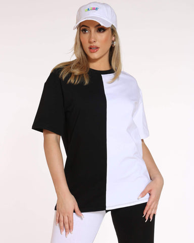 Women's Teanna Split Color Block Tee - Black White-VIM.COM