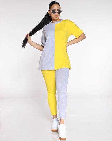 Women's Teanna Split Color Block Tee - Yellow Grey-VIM.COM