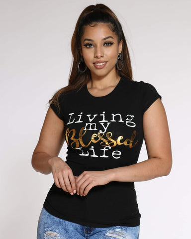 Women's Living My Blessed Life Top - Black-VIM.COM