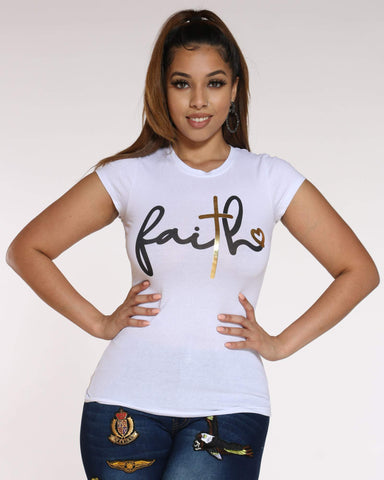 Women's Faith Foil Top - White-VIM.COM