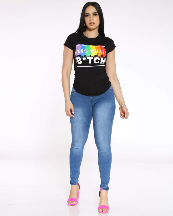 Women's 100% That B*tch Rainbow Top - Black