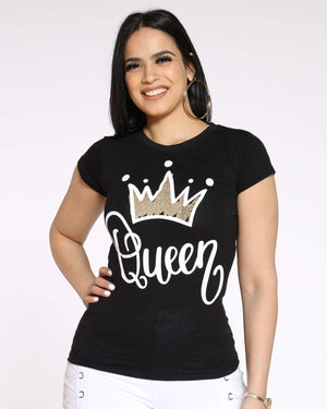Women's Angie Queen Crown Foil Top - Black-VIM.COM