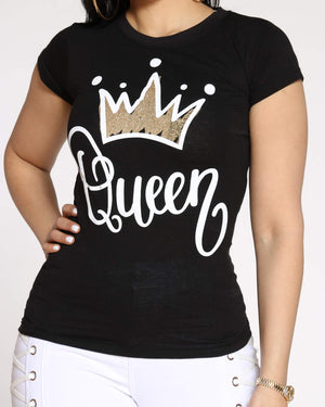 Women's Angie Queen Crown Foil Top - Black