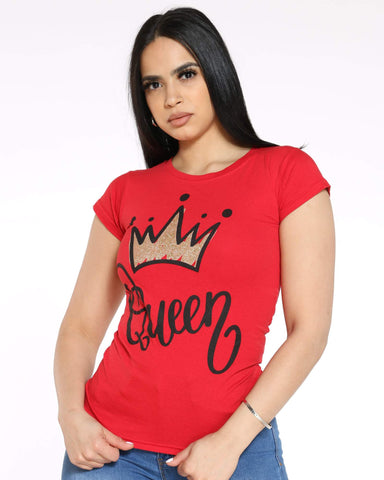 Women's Angie Queen Crown Foil Top - Red