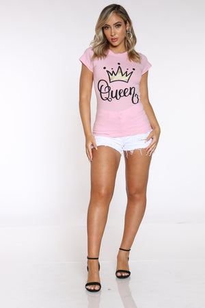 Women's Angie Queen Crown Foil Top - Blush