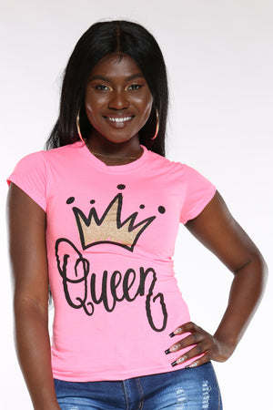 Women's Angie Queen Crown Foil Top - Fuchsia-VIM.COM