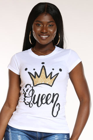 Women's Angie Queen Crown Foil Top - White
