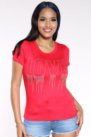 Women's Love Drip Stones Tee - Red