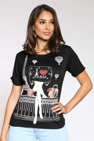 Women's I Love Paris Girl Sitting Stones & Pearl Tee - Black-VIM.COM