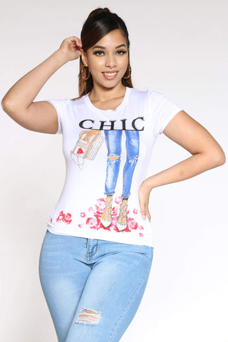 Women's Chic Girl Stones Tee - White-VIM.COM