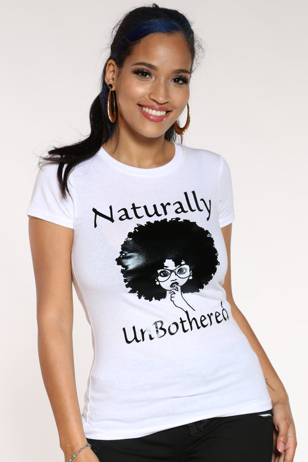 Women's Naturally Unbothered Girl Tee - White-VIM.COM