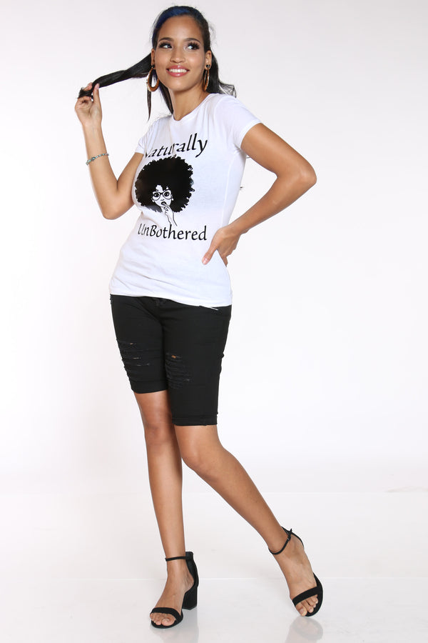 Women's Naturally Unbothered Girl Tee - White