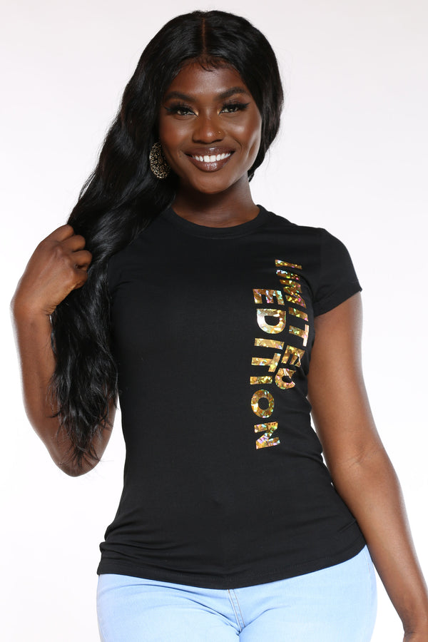 Women's Limited Edition Hologram Foil Tee - Black-VIM.COM