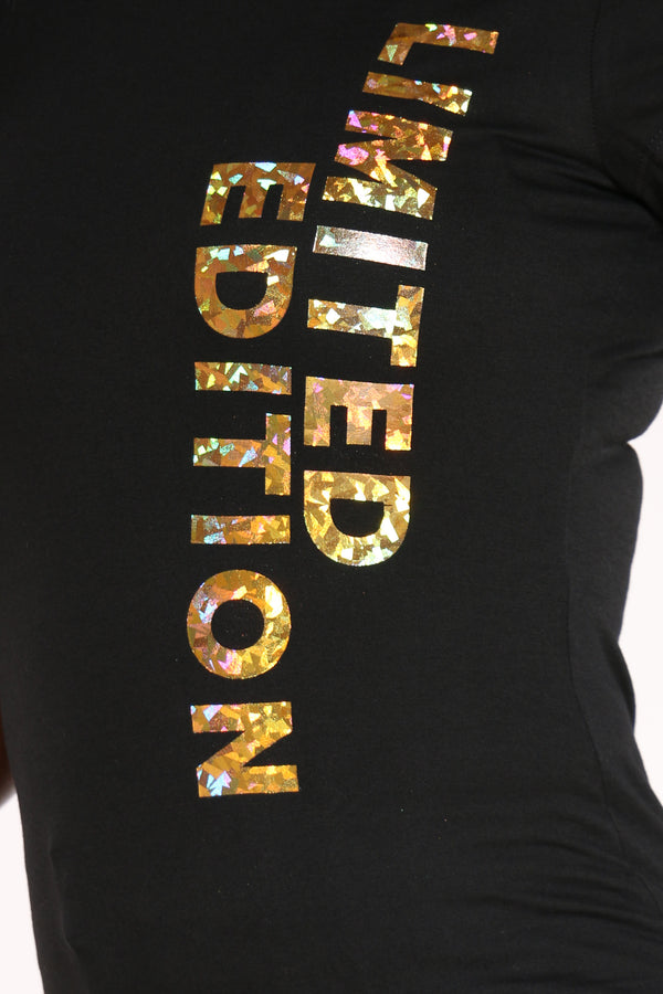 Women's Limited Edition Hologram Foil Tee - Black