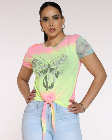Women's Miley Tie Dye Butterfly Top - Pink Blue