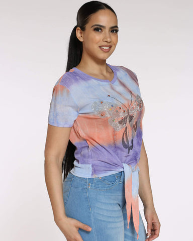 Women's Miley Tie Dye Butterfly Top - Orange Purple