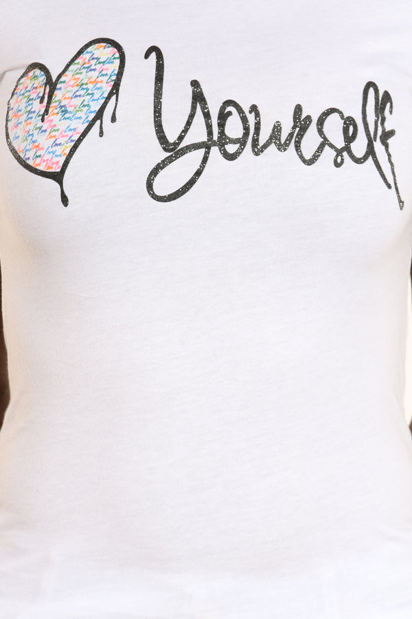 Women's Love Repeat Heart Yourself Tee - White